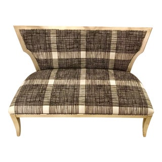 Modern Currey & Co. Black and White Garbo Settee/Bench For Sale