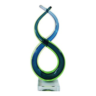 Late 20th Century Murano Glass Blue Green and Clear Art Glass 'Eternal Love and Luck' Sculpture For Sale