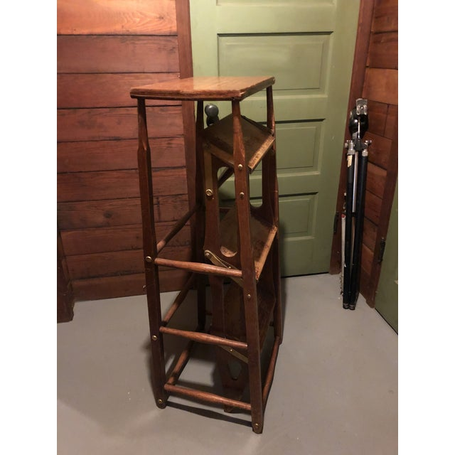 Early 20th Century Early 20th Century American Metamorphic Library Ladder Steps For Sale - Image 5 of 13