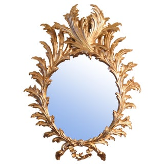 Vintage Italian Rococo Gold Leaf Mirror For Sale