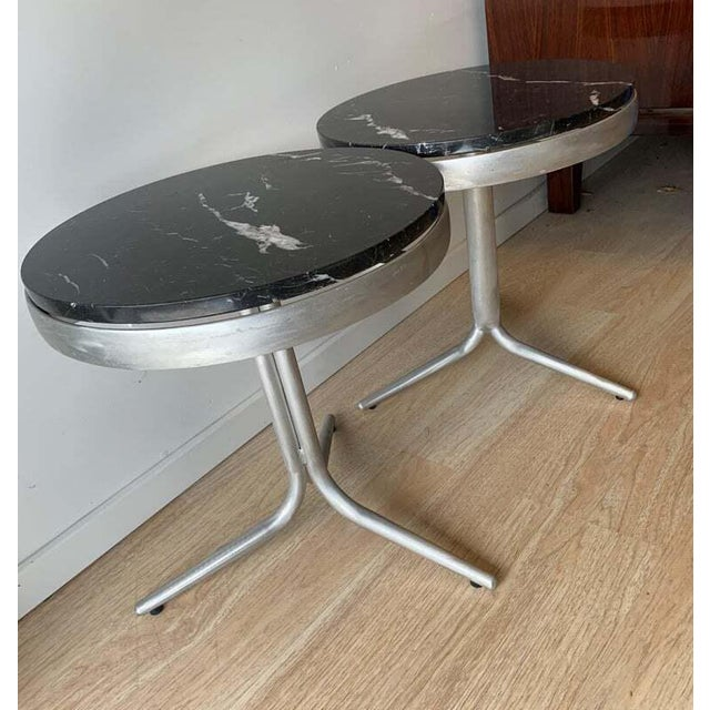 Metal Aluminum and Marble Side Tables - a Pair For Sale - Image 7 of 12