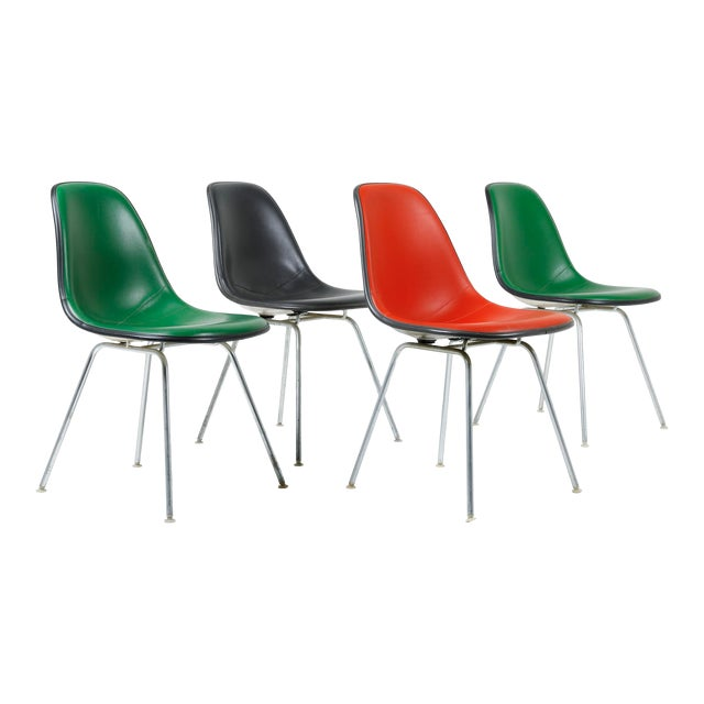 1970s Vintage Herman Miller Eames Dsx Fiberglass Padded Shell Chairs- Set of 4 For Sale