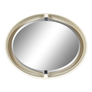 1970s Allibert French Pivoting & Lighted Oval Mirror For Sale