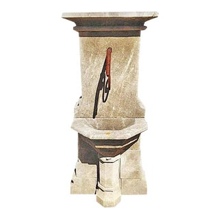 Hand Carved Limestone Pedestal Style Wall Fountain For Sale