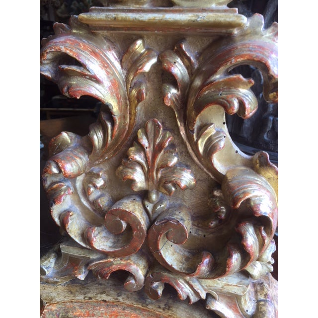 18th Century Carved Giltwood Candles Converted to Lamps - a Pair For Sale In Los Angeles - Image 6 of 13