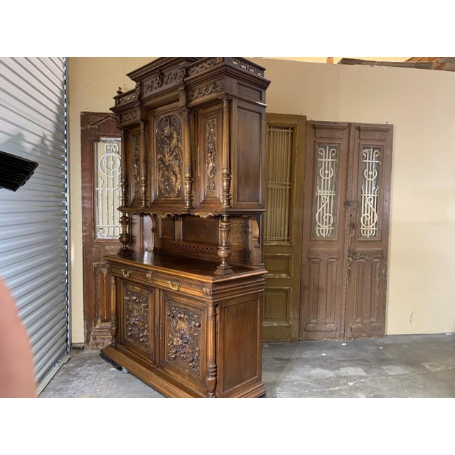 French 19th Century French Gothic Renaissance Carved Walnut Double Buffet / Cupboard For Sale - Image 3 of 12