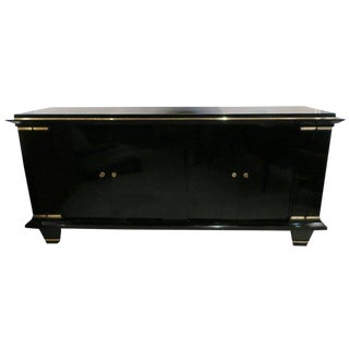 French Mid-Century Ebonized Architectural Sideboard With Bronze Mounts For Sale