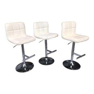 White Leather & Chrome Counter Stools - Set of 3