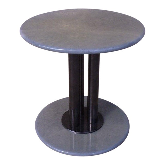Post Modern 80's Roche Bobois Goatskin / Parchment Three Column Occasional Table For Sale