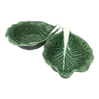 Traditional Majolica Secla Portugal Green Leaf Salsa Bowls - Set of 2 For Sale