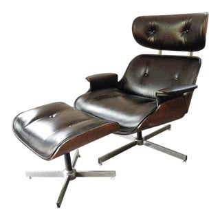 Vintage Mid Century Plycraft Eames Style Lounge Chair & Ottoman For Sale