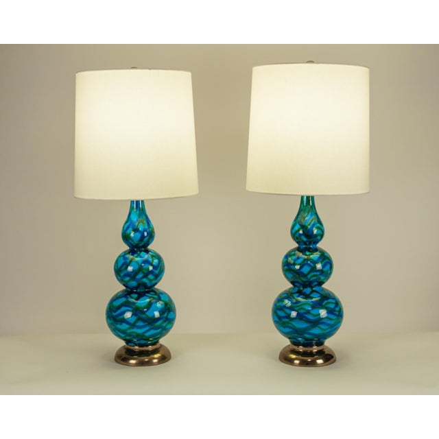 Blue Vintage Porcelain Table Lamps With Brass Bases - a Pair For Sale - Image 8 of 10