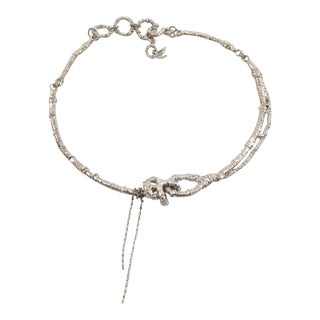 Christian Lacroix Paris Necklace Silver Plate Rigid Choker With Charms For Sale