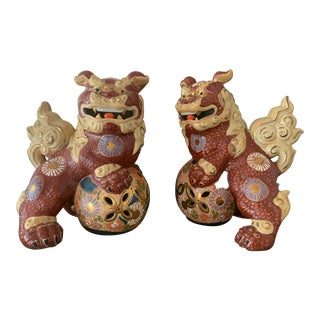 Vintage Asian Antique Foo Dogs - a Pair For Sale