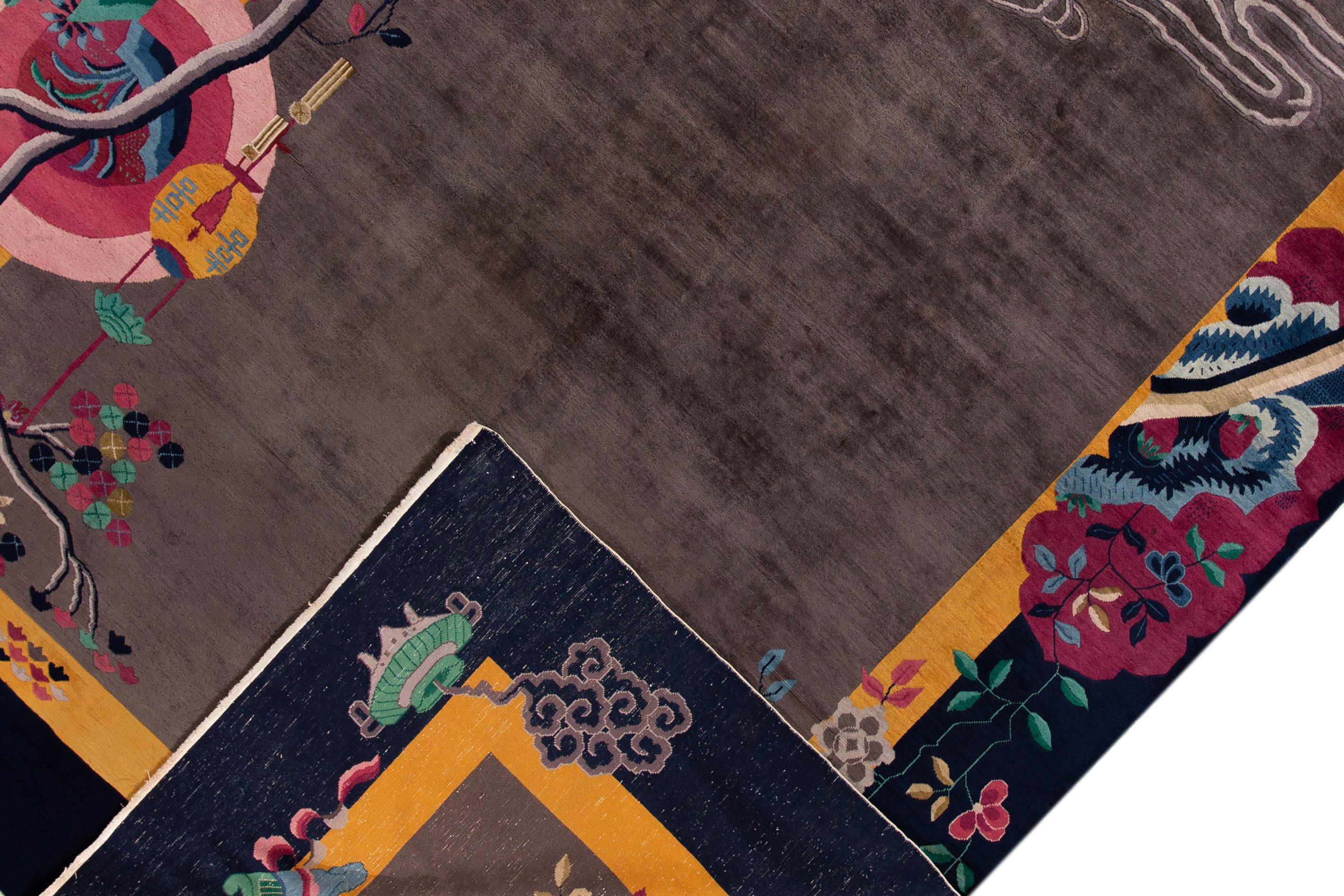 A hand-knotted antique Chinese Art Deco carpet with an all over floral  design.