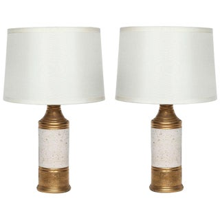 Bitossi Gold and Off White Glazed Lamps - A Pair For Sale