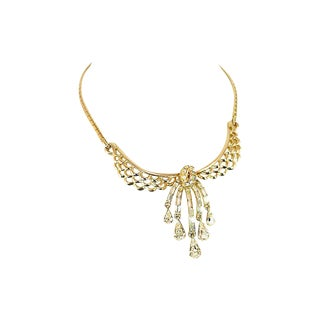 Corocraft Crystal Waterfall Necklace, 1940s For Sale