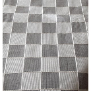 Contemporary Platinum or Greige & Black Check Silk Upholstery Fabric- 2 Yards For Sale