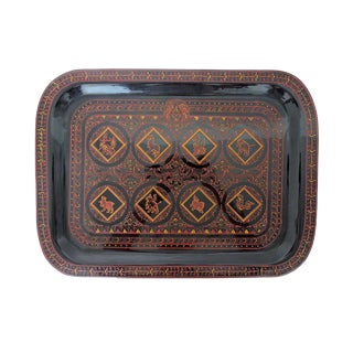 1980's Vintage Burmese High Gloss Red Lacquer Zodiac Tray For Sale