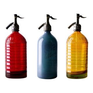 1930s Vintage Restored Seltzer Bottles - Set of 3 For Sale