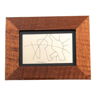 Original Vintage Miniature Abstract Robert Cooke Ink Drawing 1970's For Sale