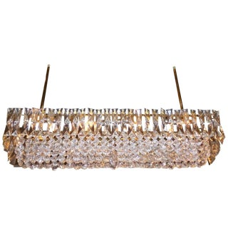 J. & L. Lobmeyr Crystal and Brass Box Chandelier, Italy, 1960s For Sale