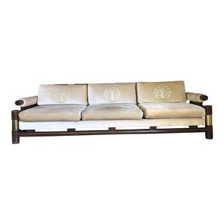 Mid-Century Asian Style Gold Embroidered Sofa