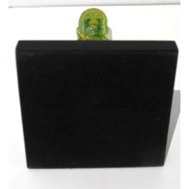 Vintage Seated Buddha Green Translucent Lucite Black Base For Sale - Image 10 of 12