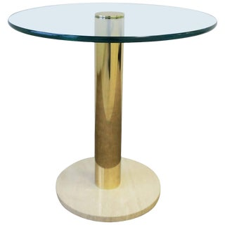 Modern Italian Round Brass, Glass and Marble Side Table by Pace, Ca. 1970s For Sale