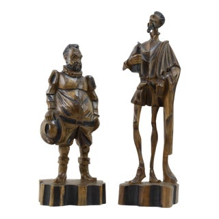 Early 20th Century Antique Spanish Carved Don Quixote and Sancho Panza Sculptures - a Pair For Sale