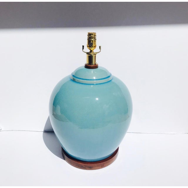 Wood Pair of Vintage Ralph Lauren Chinese Pottery Lamps in Robin's Egg Blue For Sale - Image 7 of 13