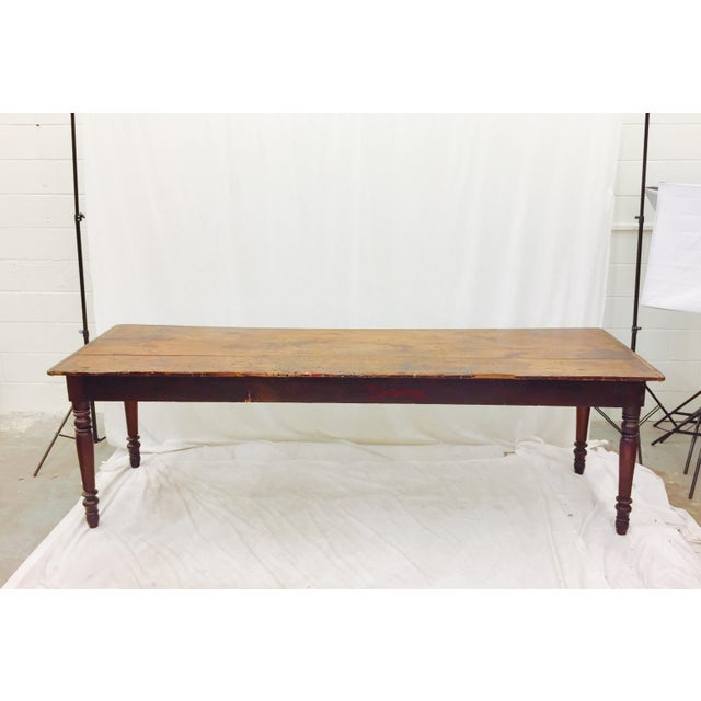 Contemporary Antique Harvest Farm Table For Sale - Image 3 of 11