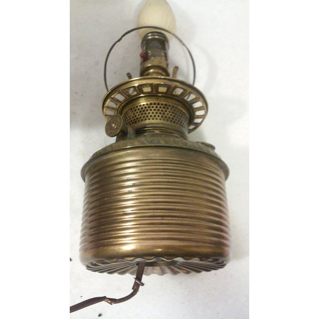 Pink Antique Style Brass and Pink Slag Glass Lamp For Sale - Image 8 of 11