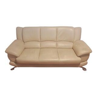 Cream Beige Italian Leather Sofa For Sale