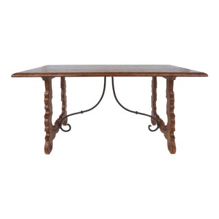 Rustic Oak Trestle Table W/ Iron Stretcher For Sale