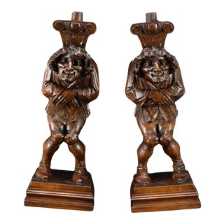 19th Century French Architectural Carved Figural Court Jester Supports - a Pair For Sale