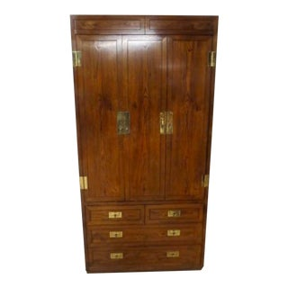 1970's Vintage Henredon Scene One Campaign Chest Armoire For Sale