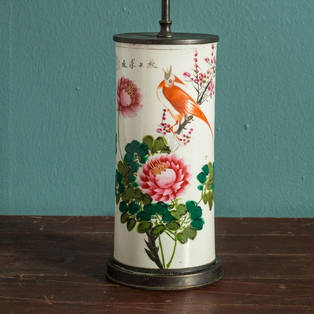 Hand-painted Japanese custom lamp from circa 1910-1930 vase. Newly wired for use within the USA using all UL approved...