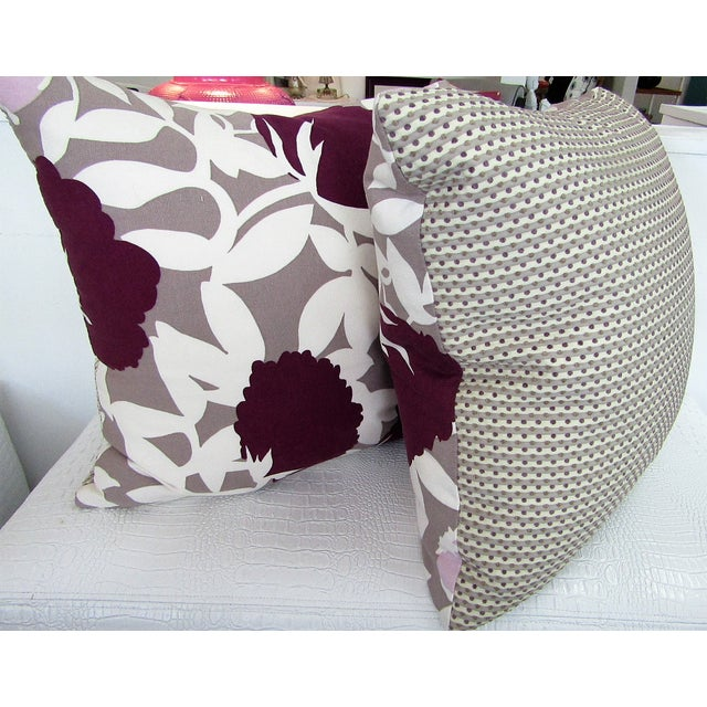 Reversible Floral Printed Accent Pillows - A Pair For Sale - Image 4 of 6