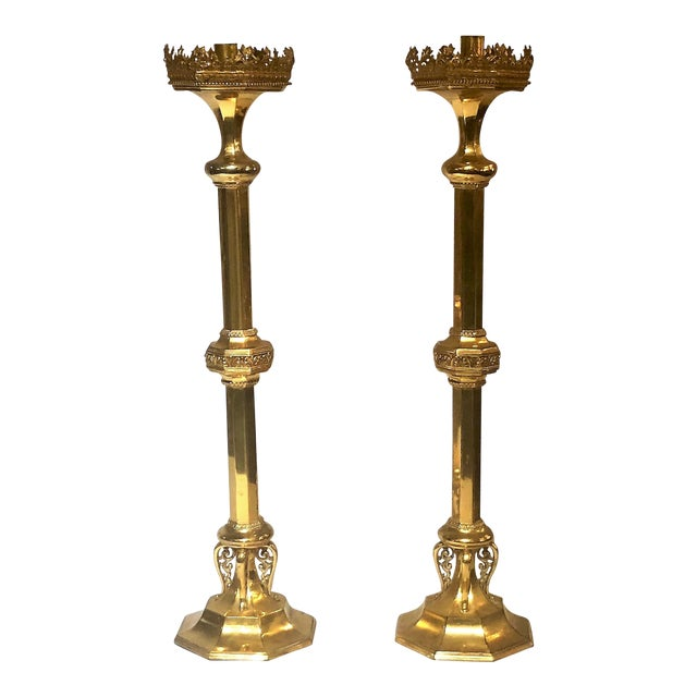 Pair Antique 19th Century Ormolu (Gold on Bronze) Church Candlesticks. For Sale