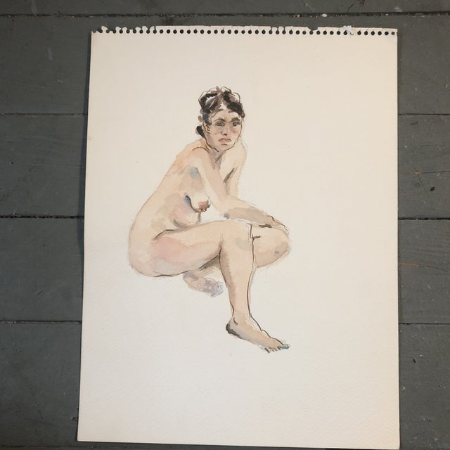1970s Original Vintage Female Nude Watercolor Painting 1970's For Sale - Image 5 of 5
