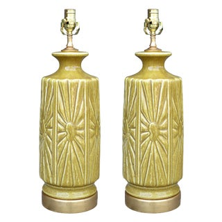 Mid-20th Century Pottery Lamps on Custom Gilt Bases - a Pair For Sale