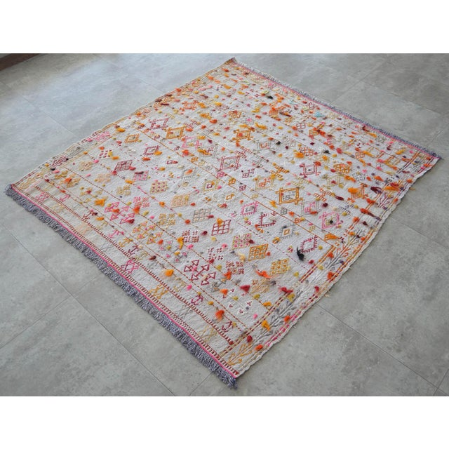 "Antique Anatolian Braided Rug Hand Woven Cotton Small Rug Sofreh - 4' X 4'3"" For Sale - Image 4 of 10"