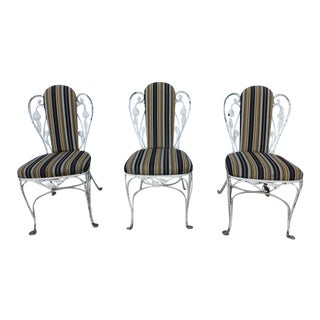 1950s French Country Iron Bistro Dining Chairs - Set of 3