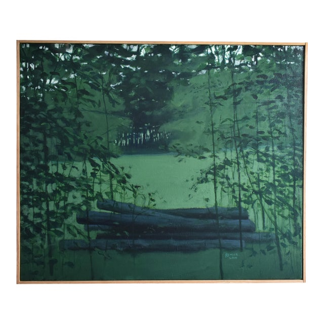 "Contemporary Landscape Painting, ""Log Pile in Summer"", by Stephen Remick For Sale"