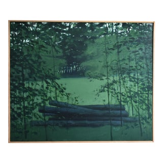 "Titled ""Log Pile in Summer"" Landscape Painting"