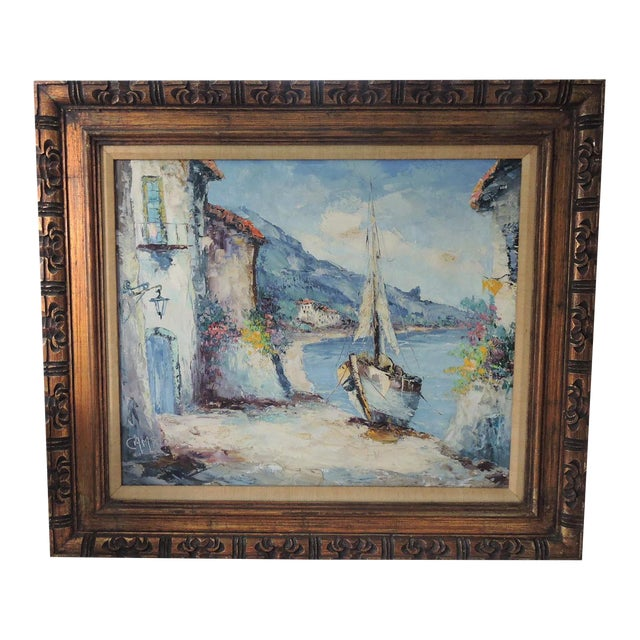 """""""The Island of Capri"""", Italy by Giovanni Camprio, Framed Oil on Canvas Painting (Mediterranean) For Sale"""