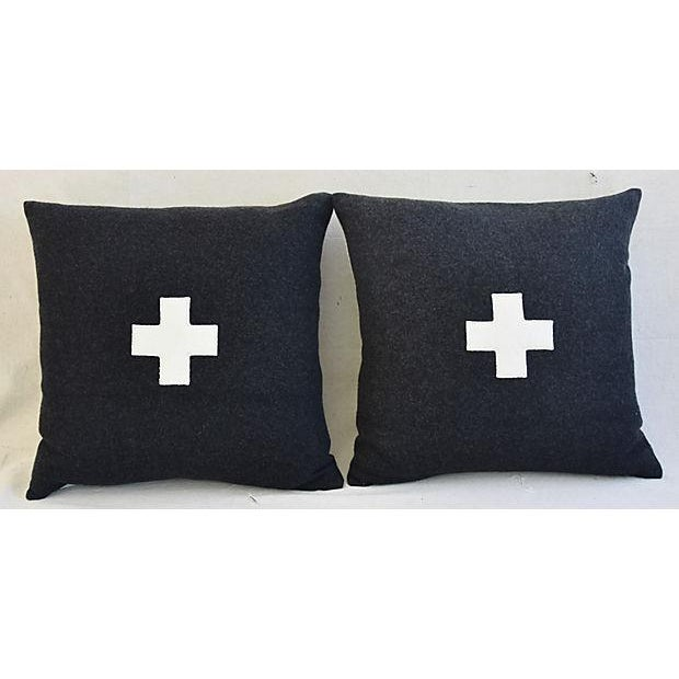 "22"" Custom Tailored Charcoal Appliqué Cross Wool Feather/Down Pillows - a Pair For Sale - Image 9 of 12"