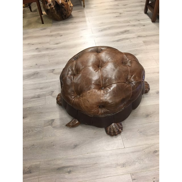 Mid-Century Modern Brown Leather Tufted Turtle Ottoman For Sale - Image 3 of 6