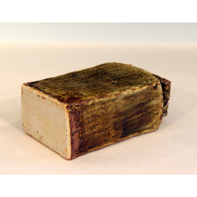 2010s Vintage Studio Pottery Slab Wabi Sabi Rectangular Square Vase Signed Ikebana For Sale - Image 5 of 9